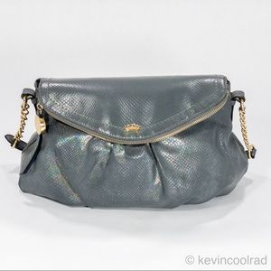 Juicy Couture Crossbody Hobo w Flap Gray Reptile